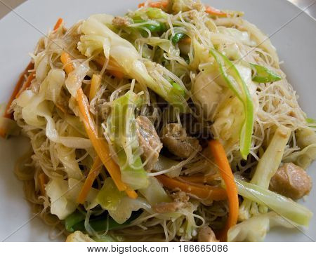 COLOR PHOTO OF STIR FRIED RICE VERMICELLI WITH VEGETABLES