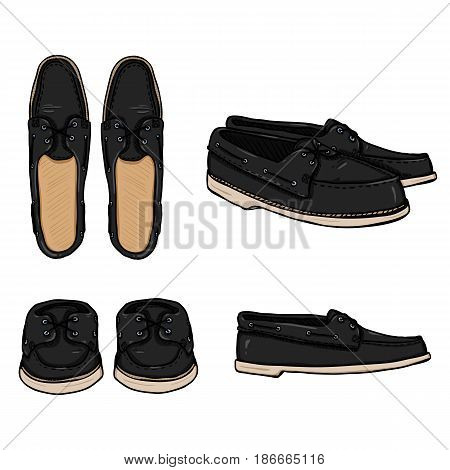Vector Set Of Cartoon Black Topsider Men Shoes.