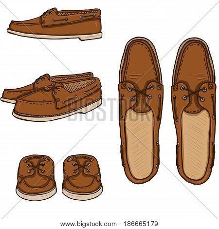 Vector Set Of Cartoon Brown Topsider Men Shoes.