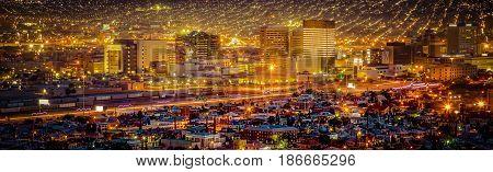 City lights at sundown in El Paso Texas.