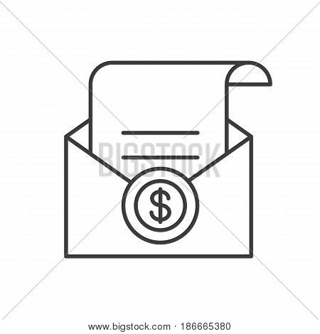 Salary linear icon. Thin line illustration. Check in open envelope contour symbol. Vector isolated outline drawing