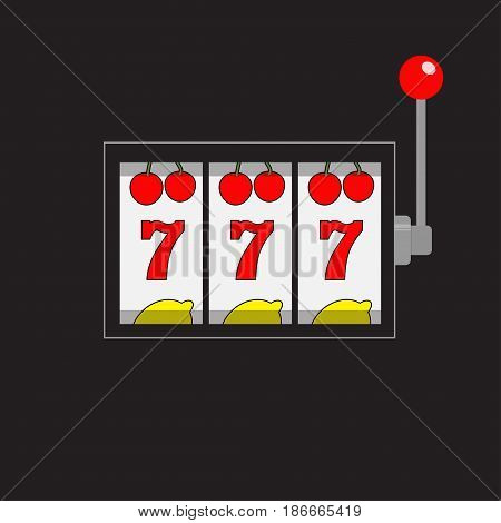 Slot machine. 777 Jackpot. Lucky sevens. Cherry lemon row. Red handle lever. Big win Online casino gambling club sign symbol. Flat design Black background. Isolated. Vector illustration