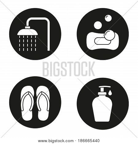 Spa salon icons set. Spa salon shower, flip flops, sponge with bubbles, shower gel with drop. Vector white silhouettes illustrations in black circles