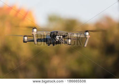 PHAYAO, THAILAND - FEBRUARY 25, 2017 : The DJI Mavic Pro standing in flight outdoor, this is the first foldable drone ever made .