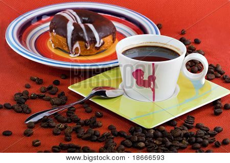 Coffee and donuts, coffee beans, still life, design elements series