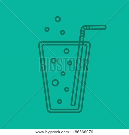 Lemonade color linear icon. Soda glass with straw. Thin line contour symbols on color background. Vector illustration
