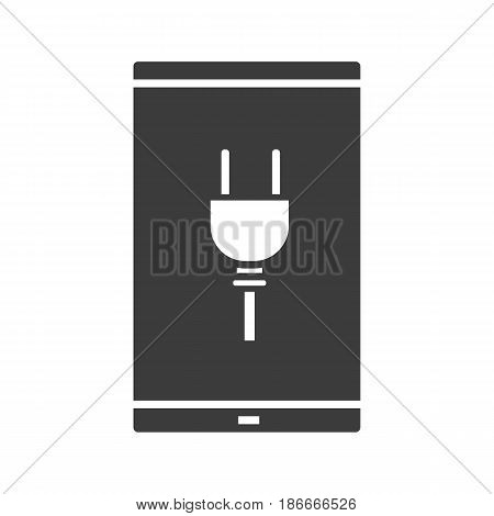 Smartphone charging glyph icon. Silhouette symbol. Smart phone with electric plug. Negative space. Vector isolated illustration