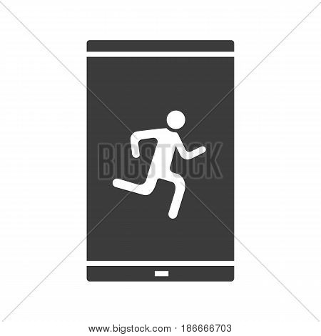 Smartphone sport app glyph icon. Silhouette symbol. Smart phone with running man pictogram. Negative space. Vector isolated illustration