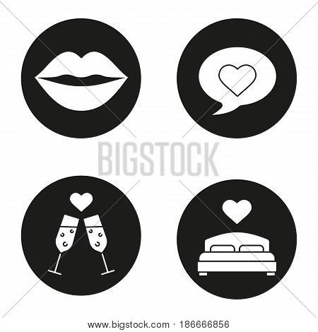 Romantics icons set. Kiss, love message, romantic date, lovers bed. Vector white silhouettes illustrations in black circles