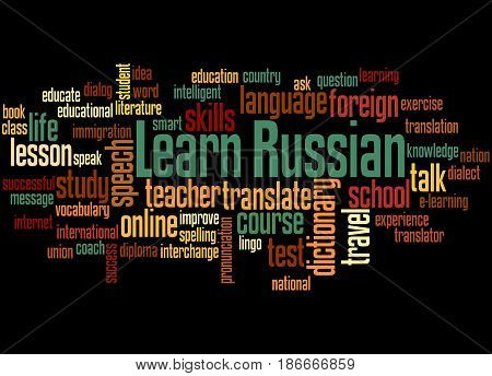 Learn Russian, Word Cloud Concept