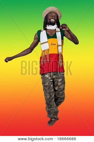 smiling rastafarian man, clipping path, background the rastafari flag,