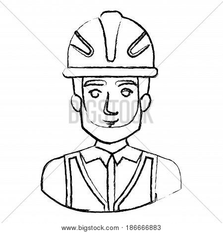 monochrome blurred contour with half body of male bearded architect with helmet vector illustration