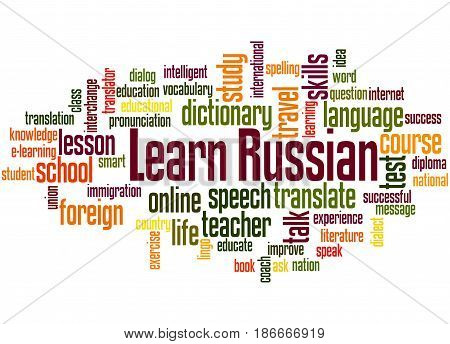 Learn Russian, Word Cloud Concept 2