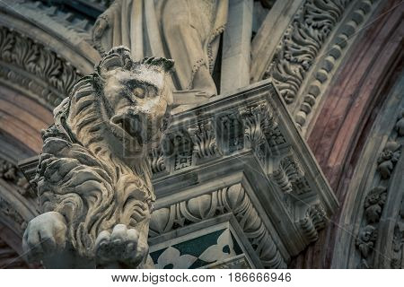 Lion symbol on a Cathedral in Siena Italy