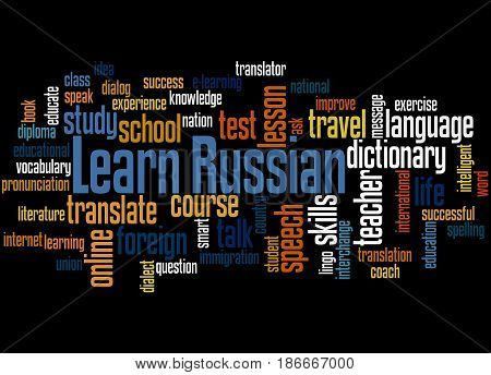 Learn Russian, Word Cloud Concept 3