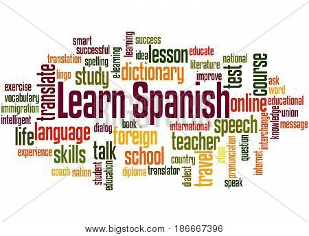 Learn Spanish, Word Cloud Concept