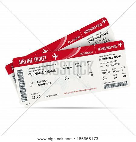 Airline ticket or boarding pass for traveling by plane isolated on white. Vector illustration