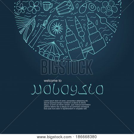 Hand Drawn Symbols Of Malaysia. Vector Illustration.