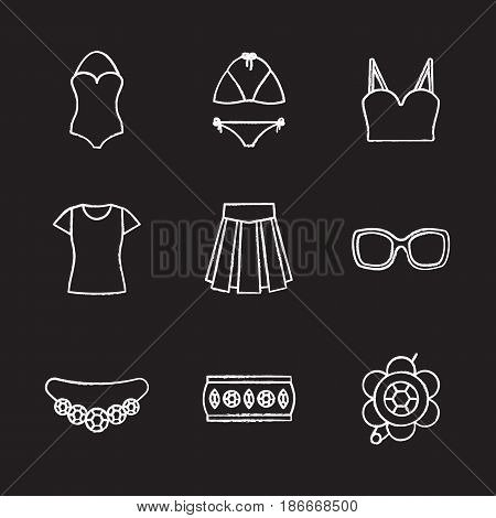 Women's accessories chalk icons set. Clothes and jewelry. Swimsuits, top, t-shirt, skirt, sunglasses, bracelet, brooch, necklace. Isolated vector chalkboard illustrations poster