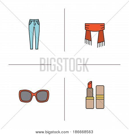 Women's accessories color icons set. Skinny jeans, scarf, sunglasses, lipstick. Isolated vector illustrations