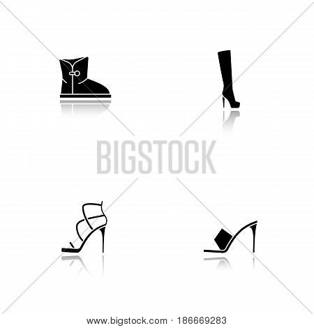 Women's footwear drop shadow black icons set. High heel shoes, warm winter and high autumn boots. Isolated vector illustrations