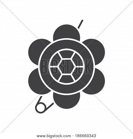 Brooch glyph icon. Silhouette symbol. Flower shape brooch. Negative space. Vector isolated illustration