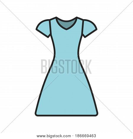 Sun frock color icon. Sarafan. Isolated vector illustration