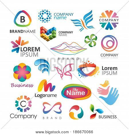 Abstract elements for logo design. Layered vector set.