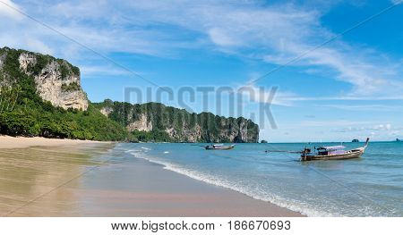 Ao nang beach view and Thai Longtail Boat - Krabi Province Thailand