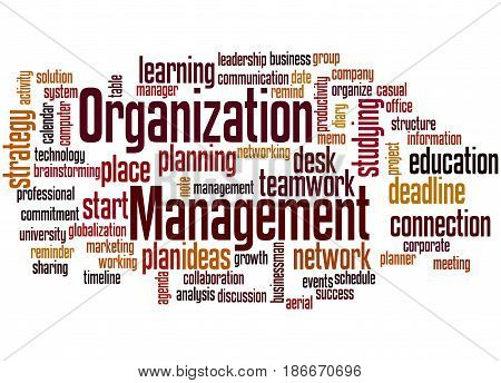 Organization Management, Word Cloud Concept