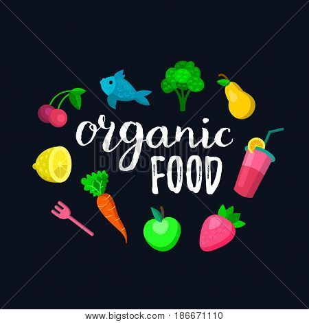 Fruits and berries vector illustration in flat style cherry, apple, pear, lemon, strawberry, broccoli for eco food logos and organic products signs. Healthy meal and drinks icons set.
