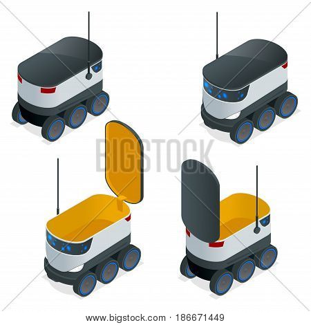 Isometric Robots Deliver Takeout Orders. It can carry up to 10 kilograms or three shopping bags and has a range of 10 miles. Flat vector illustration.