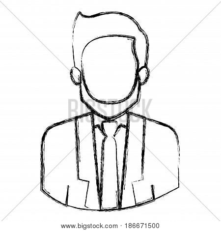 monochrome blurred contour with half body of faceless man with beard and formal suit vector illustration