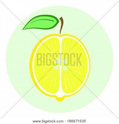 Half Yellow Lemon Icon, Lemon Split In A Half