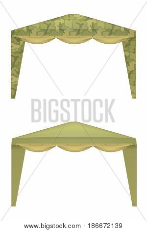 Military tents on a white background. Vector illustration