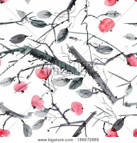 Watercolor and ink illustration of cherry tree with leaves and berries. Sumi-e u-sin painting. Seamless pattern.
