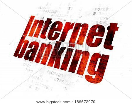 Banking concept: Pixelated red text Internet Banking on Digital background