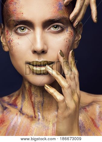 Face Art Color Beauty Makeup Creative Model Make Up Woman Fashion Faceart