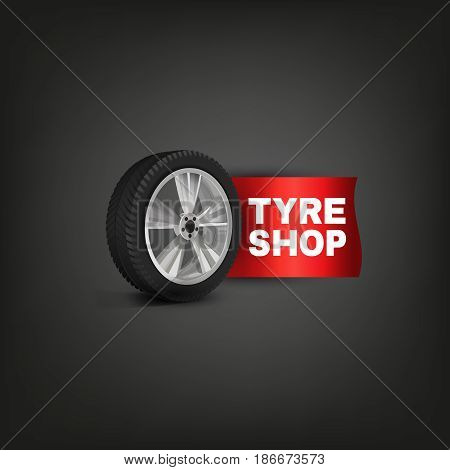 Vector tire shop and service logotype with a car wheel. Beautiful realistic illustration isolated on a dark grey background.