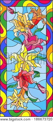 Illustration in stained glass style with flowers buds and leaves of Lilyvertical orientation