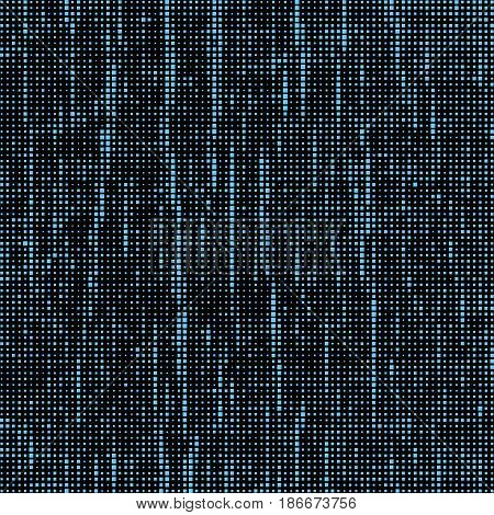 Blue Squares Of Different Sizes. Black Abstract Background. Halftone Effect. Vector Illustration