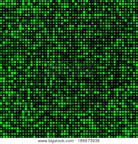 Poster Green Squares Of Different Sizes With Transparency. Banner Tiles. Abstract Black Background.