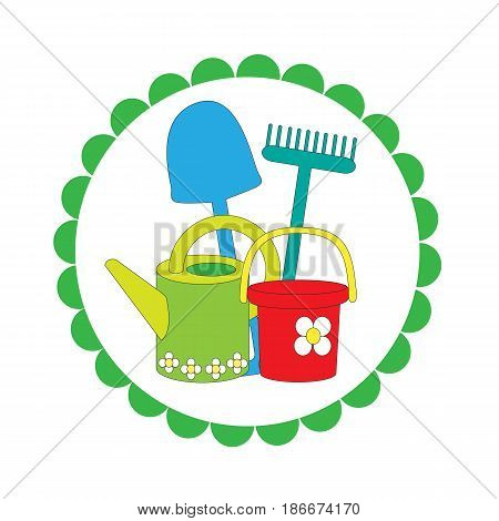 Logo on a white background with garden stock. A vector picture with a rake, a bucket, a shovel, a watering can. Spring and summer works in a garden.