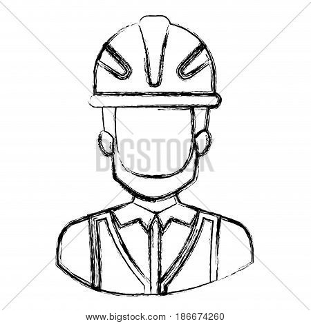 monochrome blurred contour with half body of faceless male bearded architect with helmet vector illustration