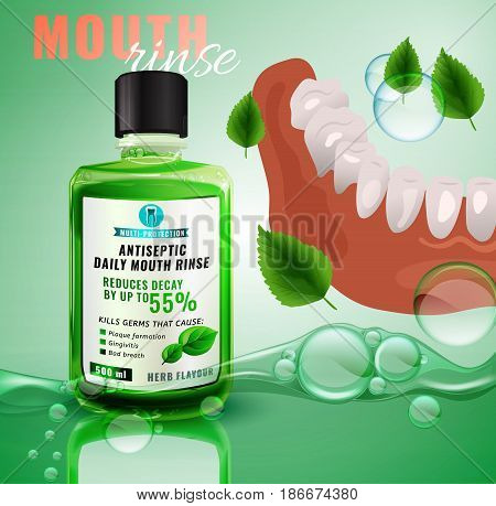 Teeth hygiene vector illustration with mouth rinse bottle. Useful for poster, leaflet, brochure or ad graphic design. Daily preventive care concept.