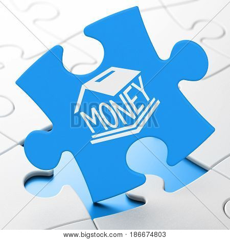 Money concept: Money Box on Blue puzzle pieces background, 3D rendering