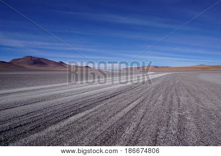 Massive open desert fields of dirt with tire tracks creating perspective in the image and small mountains in the distance