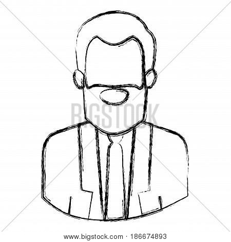 monochrome blurred contour with half body of faceless bearded man with formal suit vector illustration