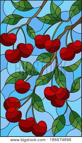 Illustration in the style of a stained glass window with the branches of cherry tree the branches leaves and berries against the sky
