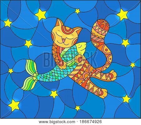 Illustration in stained glass style with funny red cat hugging a fish on a blue background with stars